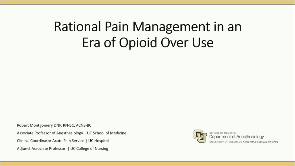 Tackling Opioid Use Disorder - Pain Management without Opioids