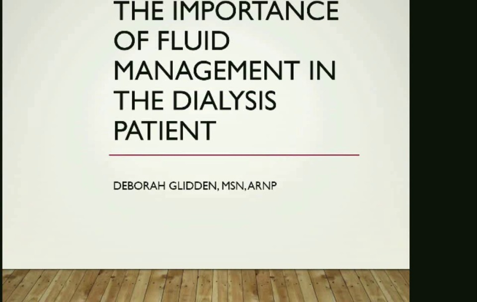 The Importance of Fluid Management in Dialysis Patients