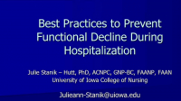 Best Practices to Prevent Geriatric Decline During Hospitalization