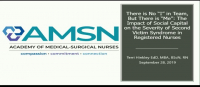 """There Is No """"I"""" in Team, But There Is """"Me"""": The Impact of Social Capital on the Severity of Second Victim Syndrome in Registered Nurses"""