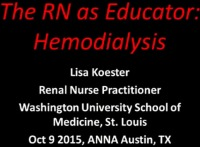 The RN as Educator - Hemodialysis