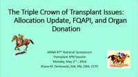 Transplant ~ The Triple Crown of Transplant Issues: Allocation, FQAPI, and Organ Donation