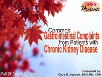 Fall 2010 - Common Gastrointestinal Complaints from Patients with Chronic Kidney Disease
