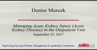 Managing Acute Kidney Injury in the Outpatient Unit