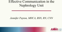 Effective Communication in the Nephrology Unit