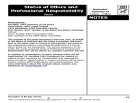 Status of Ethics and Professional Responsibility