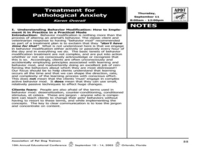 Treatment for Pathological Anxiety