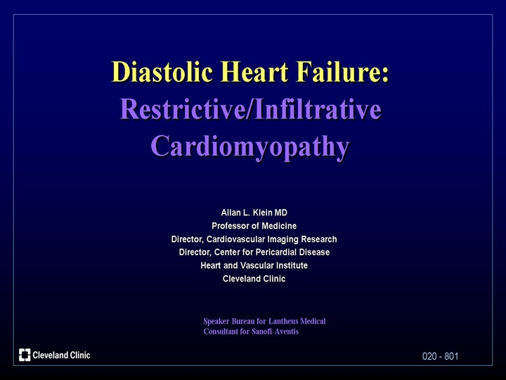 Diastolic Heart Failure Restrictive Cardiomyopathy