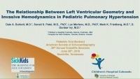 Pulmonary Hypertension Update - The Relationship Between Left Ventricular Geometry and Invasive Hemodynamics in Pediatric Pulmonary Hypertension