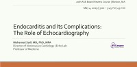 Endocarditis and Its Complications: The Role of Echocardiography