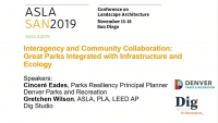 Interagency and Community Collaboration: Great Parks Integrated with Infrastructure and Ecology - 1.5 PDH (LA CES/HSW)