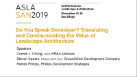 Do You Speak Developer? Translating and Communicating the Value of Landscape Architecture - 1.0 PDH (LA CES/HSW)