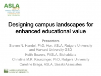 Designing Campus Landscapes for Enhanced Educational Value - 1.5 PDH (LA CES/HSW)