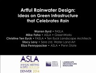 Artful Rainwater Design: Ideas on Green Infrastructure that Celebrates Rain - 1.5 PDH (LA CES/HSW)