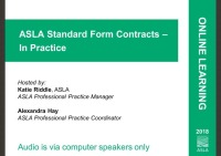 ASLA Standard Form Contracts – In Practice - 1.0 PDH (LA CES/non-HSW)