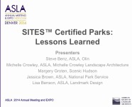 SITES Certified Parks: Lessons Learned - 1.5 PDH (LA CES/HSW)