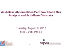 Part 2: Blood Gas Analysis and Acid-Base Disorders