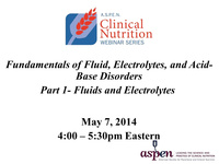 Fundamentals of Fluid, Electrolytes and Acid-Base Disorders: Part 1 – Fluids and Electrolytes