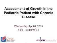 Assessment of Growth in the Pediatric Patient with Chronic Disease