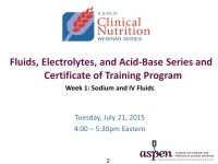 Fluids, Electrolytes, and Acid-Base Series and Certificate of Training Program - Week 1