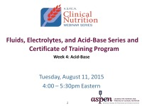 Fluids, Electrolytes, and Acid-Base Series and Certificate of Training Program - Week 4