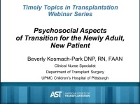 Psychosocial aspects of transition of the newly adult, new patient