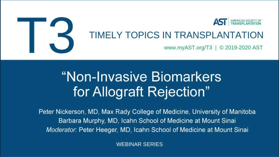 Non-Invasive Biomarkers for Allograft Rejection
