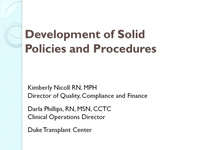 Development of Solid Policies and Procedures