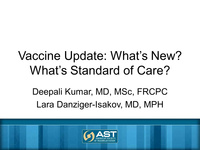 Vaccine Updates in SOT: What's New, What's Standard of Care?