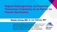 Vaginal Salpingectomy via Posterior Transverse Colpotomy as an Option for Female Sterilization