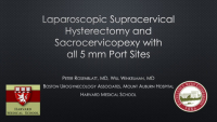 Laparoscopic supracervical hysterectomy and sacrocervicopexy with all 5mm port sites and a novel method of uterine extraction