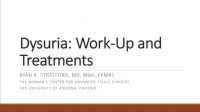 Dysuria: Work-Up and Treatments (Rx = .5 hr.)