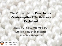 #52 The Girl with the Pearl Index: Contraceptive Effectiveness Explained (Rx = .5 hr.)