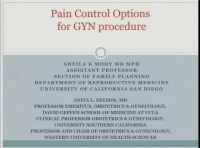 #31 Pain Control Options in GYN Procedures (Rx = .5 hr.)