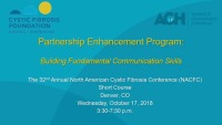 SC03--CLIN: Partnership Enhancement Program: Building Fundamental Communication Skills