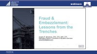 Fraud and Embezzlement: Lessons from the Trenches