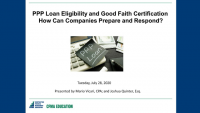 PPP Loan Eligibility and Good Faith Certification: How Can Companies Prepare and Respond