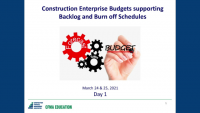 Construction Enterprise Budgets Supported by Backlog & Burn-off Schedules - Day 1