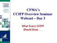 CCIFP Overview Seminar: Day 3