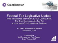 Federal Tax Legislative Update: What Has Happened and What Could Be Coming Next