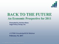 BACK TO THE FUTURE: An Economic Prospective for 2011