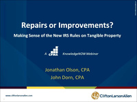 Repairs or Improvements?  Making Sense of the New IRS Rules on Tangible Property