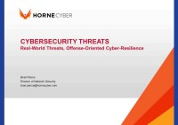 CYBERSECURITY THREATS - Real-World Threats, Offense-Oriented Cyber-Resilience