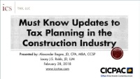Must Know Updates to Tax Planning in the Construction Industry