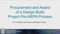 Procurement and Award of a Design-Build Project Pre NEPA Process
