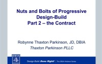 Nuts and Bolts of Progressive Design-Build Part 2 – The Contract