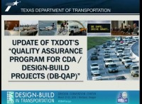 Update of TxDOT's Quality Assurance Program for CDA / Design-Build Projects