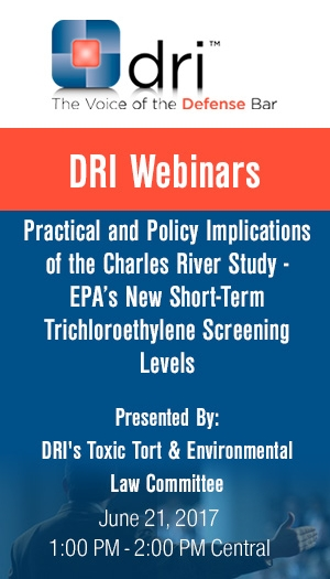 Practical and Policy Implications of the Charles River Study - EPA's New Short-Term Trichloroethylene Screening Levels - Non-Members