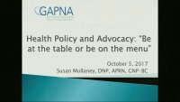 "Health Policy and Advocacy: ""Be at the Table or Be on the Menu"""