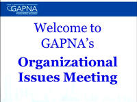 GAPNA Organizational Issues